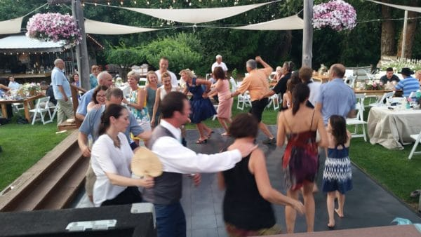 Hot Mt. Hood Wedding Dancing Conga Line